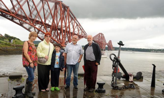 Concerned residents Karen Trotter, Pamela McKendrick, Louis Renwick, Jim George and Peter Dean by the Forth Bridge.