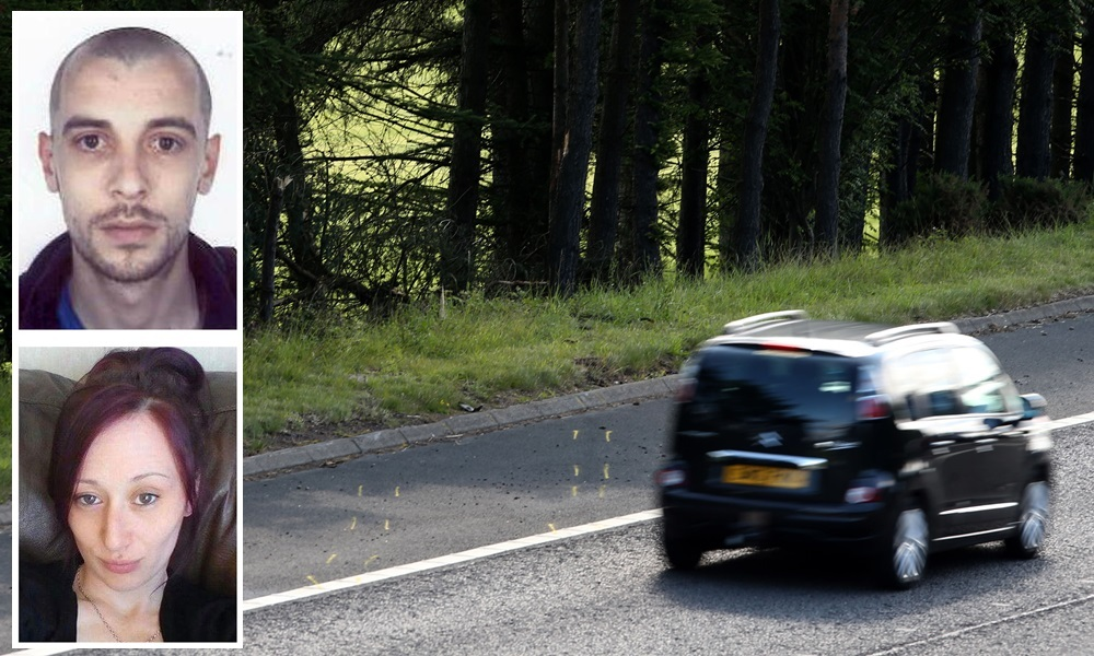 Yellow markings on the road at Junction 9 of the M9 near Stirling indicate the route that a car took when it left the road and was only discovered three days after police were told that it had crashed. PRESS ASSOCIATION Photo. Picture date: Thursday July 9, 2015. The male driver of the car was pronounced dead at the scene, while the female passenger was taken to hospital in Glasgow where she is in critical condition. See PA story POLICE Couple. Photo credit should read: Andrew Milligan/PA Wire