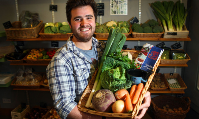 Fraser Reid of Frasers fruit and veg in Dundee at the launch of the Flower and Food Festival.