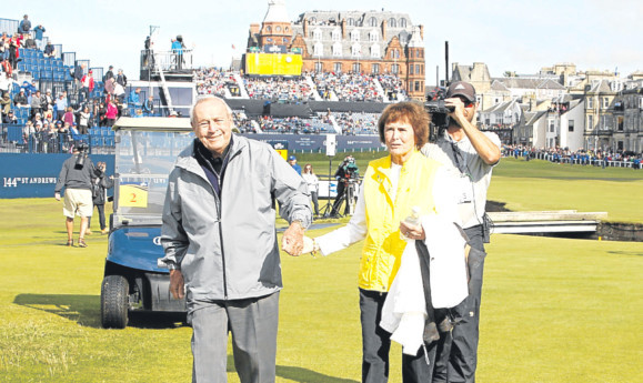 Golfing legend Arnold Palmer and wife Kathleen during the Champions Challenge at St Andrews.