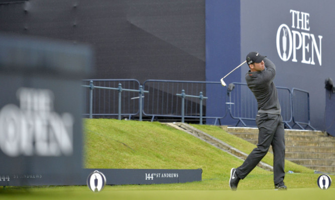 Paul Casey tees off on the 1st  during day five of The Open Championship.