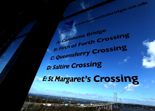 A window displaying the shortlist of names for the new Forth Replacement Crossing at the Education Centre, South Queensferry.