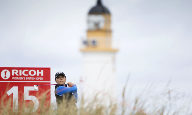 Lydia Ko tees off on the 15th hole during day one of the Ricoh Women's British Open at Turnberry.