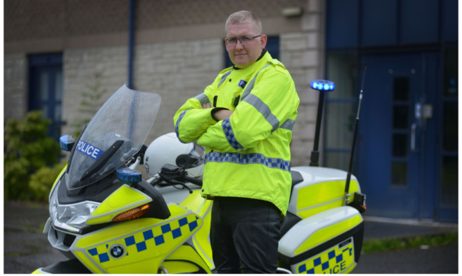 PC Alastair Purvis, left, is asking motorcyclists  and particularly inexperienced riders  to be aware of their vulnerability and remember even low speed collisions can kill.