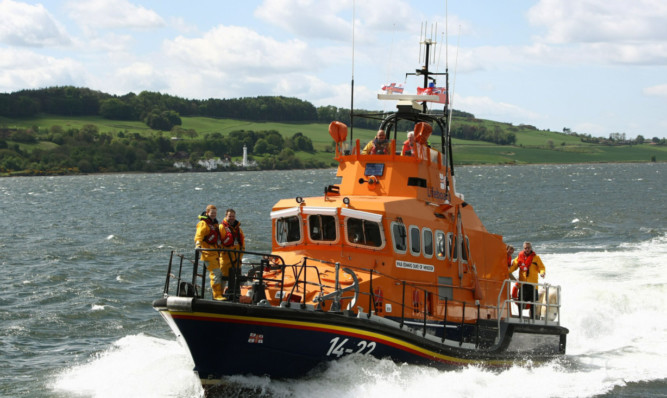 The Broughty Ferry lifeboat crew in action.