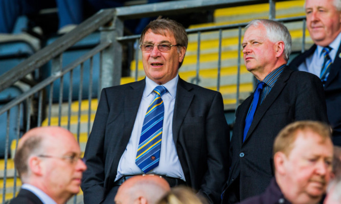 St Johnstone owner Geoff Brown and leader of Perth & Kinross Council Ian Miller.