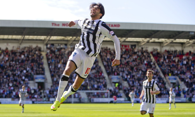 On-form Faissal El Bakhtaoui celebrates his opening goal for Dunfermline.