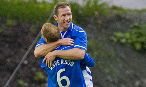 Frazer Wright celebrates with team-mate Steven Anderson after defeating Rosenborg away from home.
