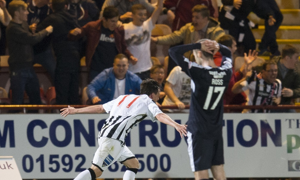 25/08/15 SCOTTISH LEAGUE CUP 2ND RND    DUNFERMLINE v DUNDEE    EAST END PARK - DUNFERNLINE    Dunfermline's Joe Cardle (left) celebrates after putting his side in the lead
