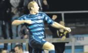 Michael Dunlop celebrates after equalising for Forfar.