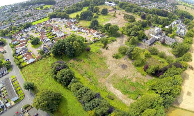 An aerial view of the site of the former Ashludie hospital.
