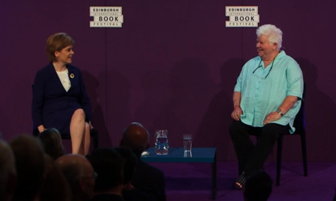Nicola Sturgeon and Val McDermid on stage at the Edinburgh International Book Festival.
