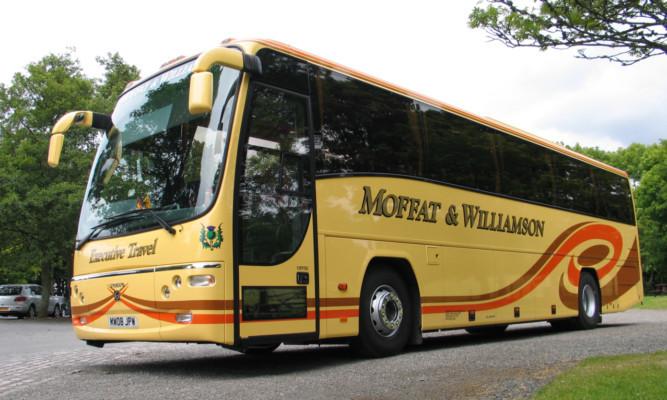 A coach from Fife-based Moffat & Williamsons modern fleet.