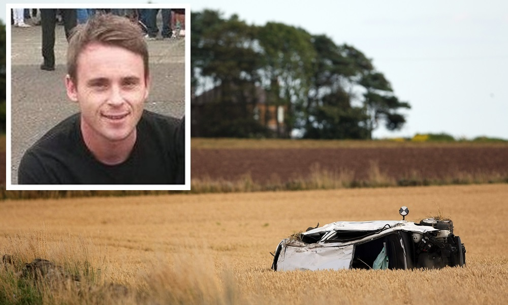 Kris Miller, Courier, 29/08/15. Fatal RTC on Arbroath to Lunan road shows Ford Fiesta lying in a field.