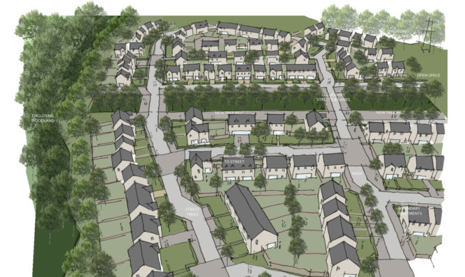 An artists impression of housing proposed for Almond Valley.
