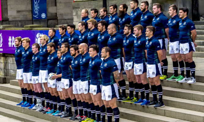 Greig Laidlaw (centre front, with ball) will lead Scotland in the 2015 Rugby World Cup.