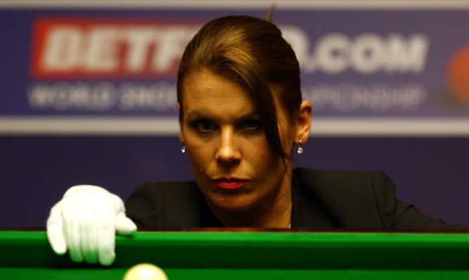Michaela Tabb officiating at the World Snooker Championships.