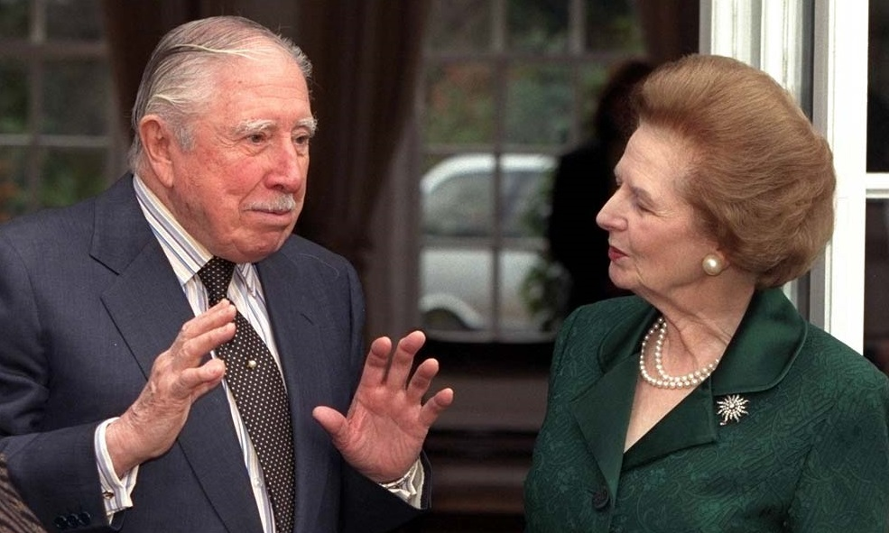 Baroness Thatcher (left) visits General Pinochet (centre) and his wife at their temporary residence where the former president of Chile is under house arrest at Wentworth in Surrey.