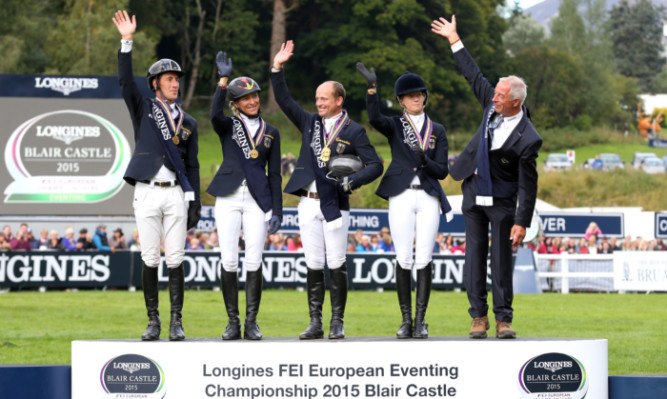 The German Team celebrate winning the 2015 Individual Champions at the Longines FEI European Championships at Blair Castle.