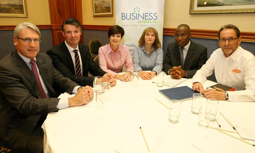 COURIER, DOUGIE NICOLSON, 14/09/15, NEWS. Pictured at the Carnoustie Golf Hotel today, Monday 14th September 2015, at the business breakfast to launch the start of Angus Business Week are L/R Dr. Mike Butler - Xceleron, Nik Scott-Gray - Montrose Port Authority, Alison Smith - Head of Economic Development Angus Council, Kristell Clunie, Smart Masoni - both Scottish Development International and Tony Walker - Ritchie Ltd.  Story by Angus.