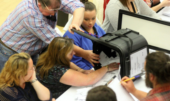 Ballot boxes arriving at the Dundee count on referendum night.