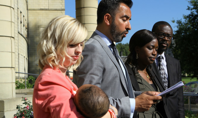 From left: Sheku's partner Collette Bell, family lawyer Aamer Anwar, sister Kadijartu Johnson and brother in law Ade Johnston, after the meeting with Police Scotland Chief Constable Stephen House at Tulliallan today, Monday 7th September 2015. Story by Claire, Fife office.
