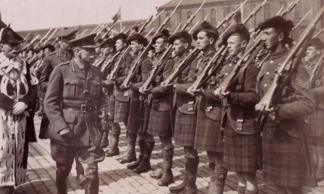 Field Marshall Haig inspecting troops in Dundee.