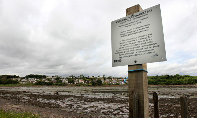 Radioactive debris was discovered on Dalgety Bay beach in Fife.