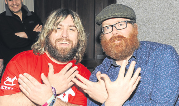 Frankie Boyle with Stephen Barbour in Kelty before the show. Picture: David Wardle.