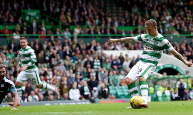 Leigh Griffiths scores Celtic's second goal.