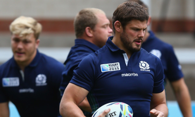 Ross Ford during Scotland's final session at Kingsholm yesterday.