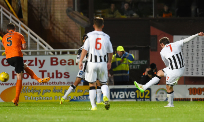 Dunfermline's Michael Paton opens the scoring.