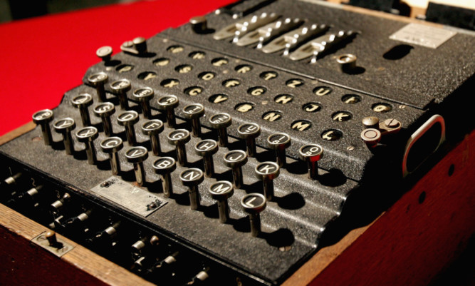 The Enigma coding machine used by the Germans in the Second World War on display at Bletchley Park National Code Centre.