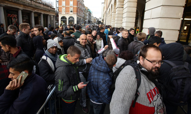 The queue outside Apple's Covent Garden store.