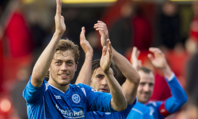 Murray Davidson and the rest of the Saints players applaud the fans at the final whistle.