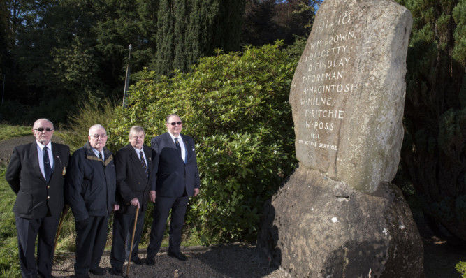 Montrose legion members Raymond Fort, Ted Parlett, Bob Jones and Ian Robb want to protect the memorial.
