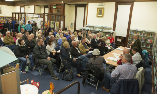 The Broughty Ferry Community Council meeting in the library on Queen Street, where residents spoke out to oppose a plan to merge the west of the area with Dundees East End ward.