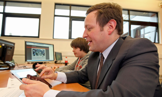 UK Culture Minister Ed Vaizey during a visit to Abertay University.