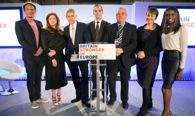 From left: Richard Reed, Karren Brady, Stuart Rose, Roland Rudd, Brendan Barber and June Sarpong, Roland Rudd, pose together in front of the photographers after launching the  'Britain Stronger in Euro' campaign.