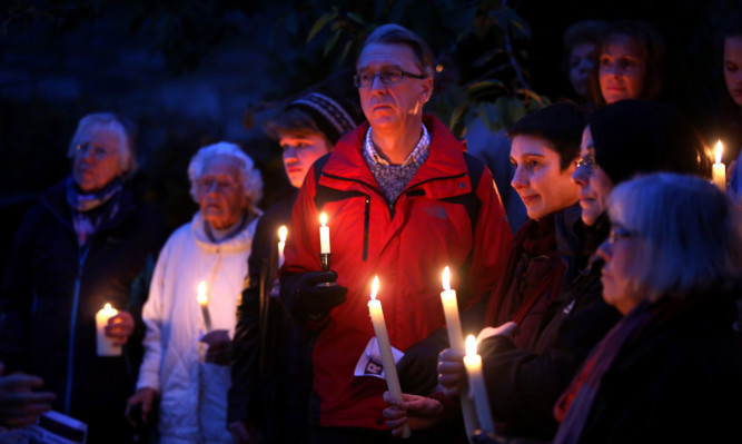 Pitlochry Refugee Support held a candlelit vigil on the day the first refugees bound for Perthshire were welcomed to Scotland.