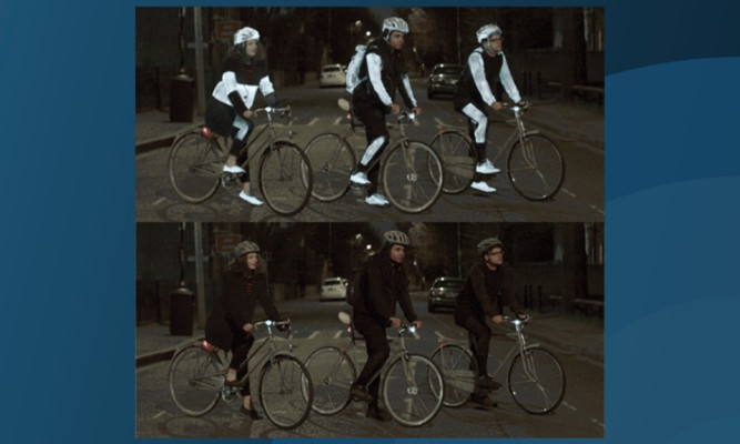 An image showing how cyclists appear to drivers when using (above) and not using the Volvo Cars LifePaint.