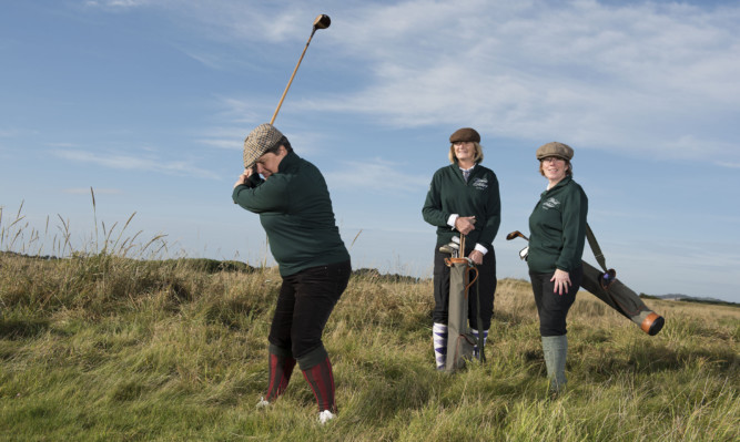 Pat Sawers, Louise Graham and Mary Summers from Carnoustie Ladies Golf Club get into the swing of vintage golf.