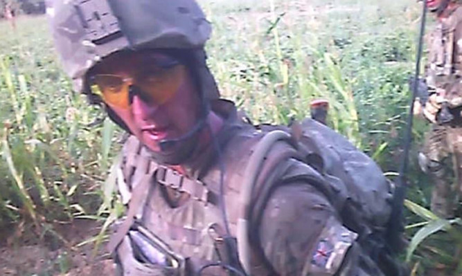 A still of Sgt Blackman taken from helmet cam footage during the Helmand patrol on which the injured insurgent was shot dead.