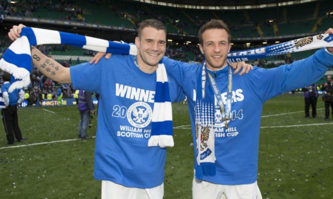 James Dunne with Chris Millar after Saints' Scottish Cup triumph.