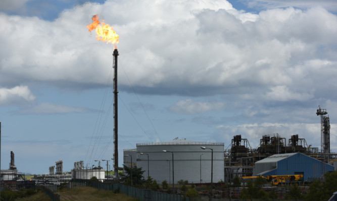 Flaring of gas at the Mossmorran plant.