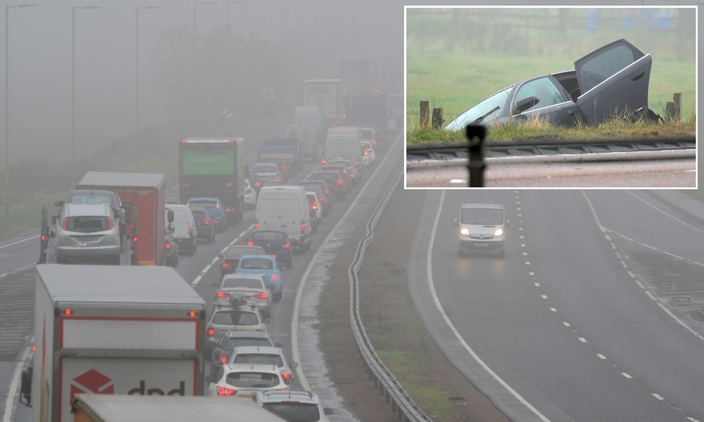 28.10.15 - pictured is traffic backed up to the Inchture turn off in the aftermath of the RTC on the A90 near Inchture