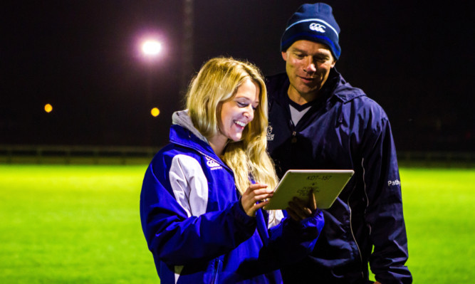 Club physio Lianne Brunton uses the system to test Andy Henderson, head of rugby at Strathallan School