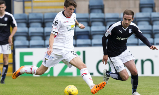 Nick Ross (right) closes down Caley Thistle's Ryan Christie.