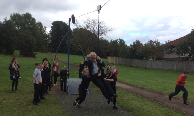 Fife Provost Jim Leishman takes to the high wire.
