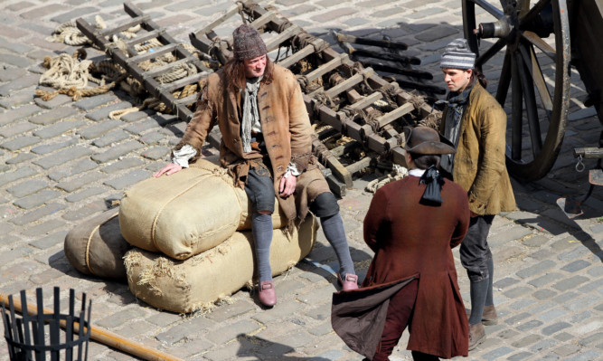 Outlander being filmed at Dysart Harbour.